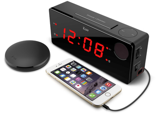 Jumbo LED Dual Alarm Clock with WirelessRechargeable Bed Shaker - TSBOOMULBK