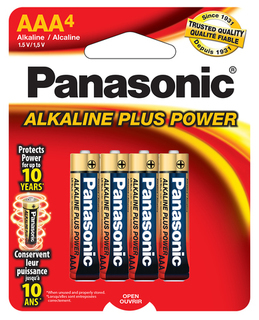 Panasonic AAA Alkaline 4 Pack - Carded - AM4PA4B